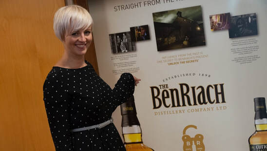 Louise pictured at BenRiach distillery